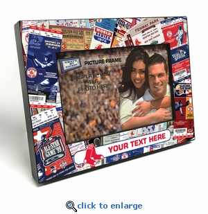 Boston Red Sox Personalized Ticket Collage Black Wood Edge 4x6 inch Picture Frame