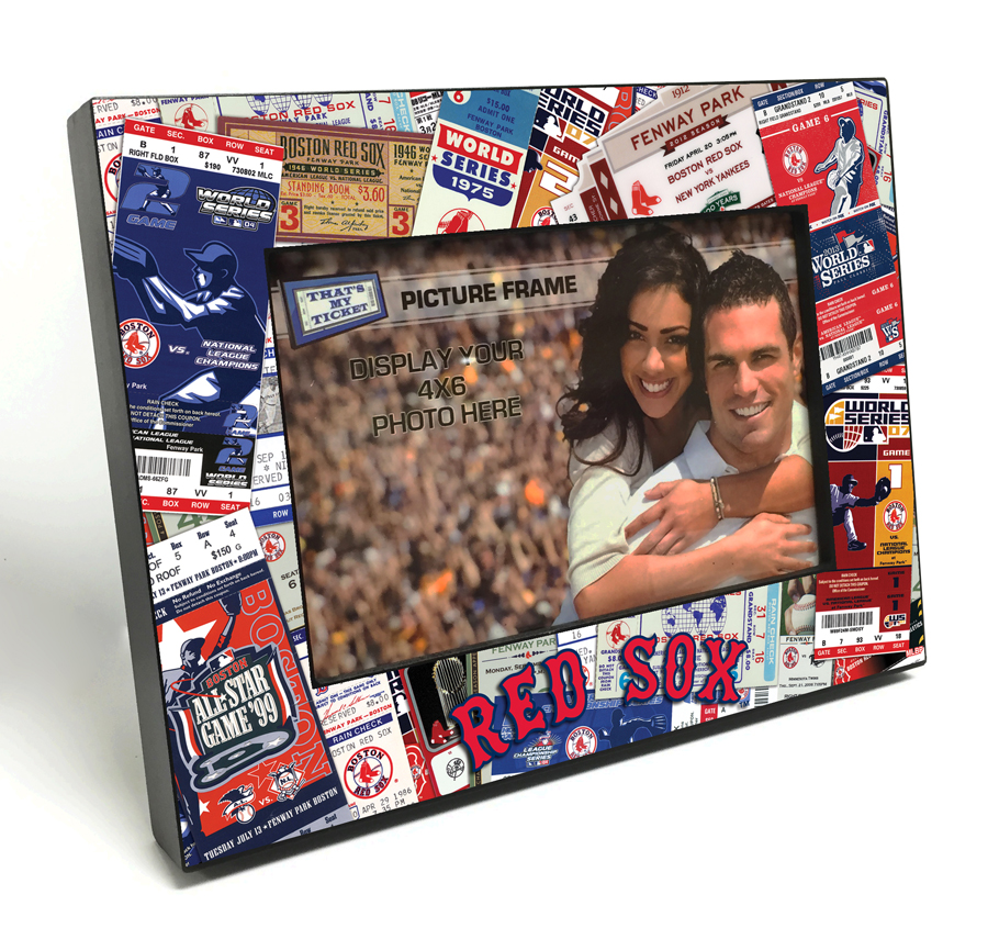Boston Red Sox Ticket Collage Black Wood Edge 4x6 inch Picture Frame