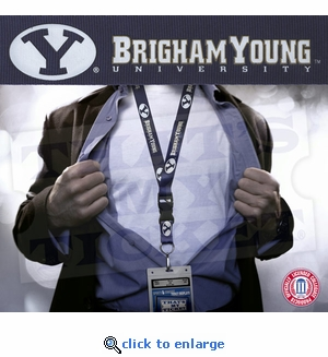 Brigham Young University NCAA Lanyard Key Chain and Ticket Holder - Navy