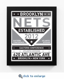 Brooklyn Nets Black and White Team Sign Print Framed