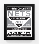Brooklyn Nets Dual Tone Team Sign Print Framed