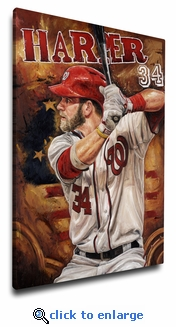 Bryce Harper 12x18 Art Reproduction on Canvas by Justyn Farano - Nationals