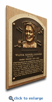 Buck Leonard Baseball Hall of Fame Plaque on Canvas - Homestead Grays, Negro Leagues