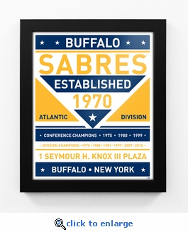 Buffalo Sabres Dual Tone Team Sign Print Framed