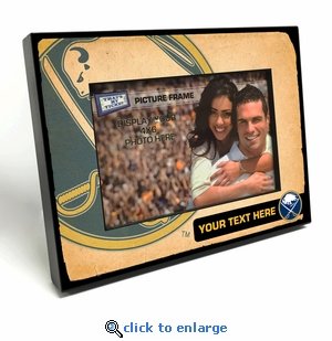 Buffalo Sabres Personalized Vintage Style Black Wood Edge 4x6 inch Picture Frame
