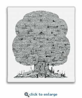 History Tree of 1970's Music Canvas Print