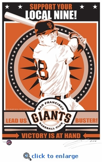 Buster Posey Sports Propaganda Handmade LE Serigraph - Giants