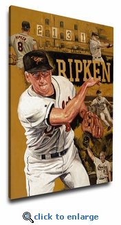 Cal Ripken Jr 12x18 Art Reproduction on Canvas by Justyn Farano - Orioles