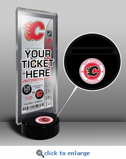 Calgary Flames My First Game Hockey Puck Ticket Stand