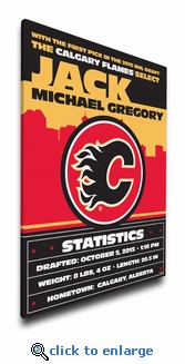 Calgary Flames Personalized Canvas Birth Announcement - Baby Gift