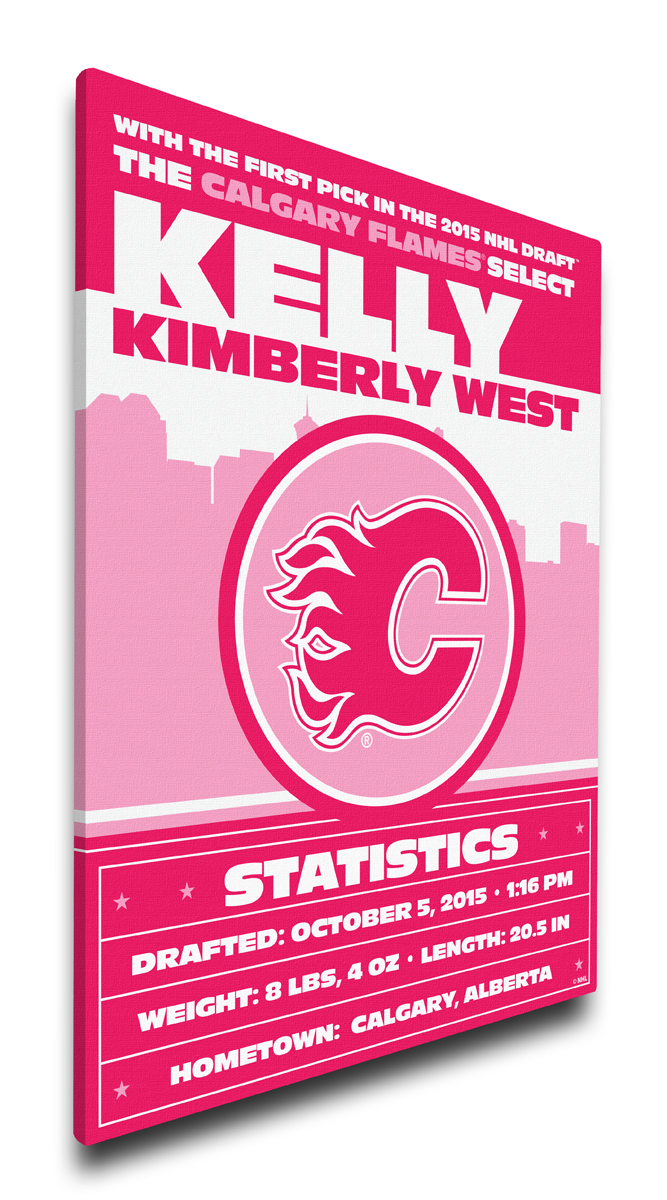 Calgary flames personalized canvas birth announcement baby gift negle Images