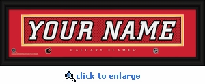 Calgary Flames Personalized Stitched Jersey Nameplate Framed Print