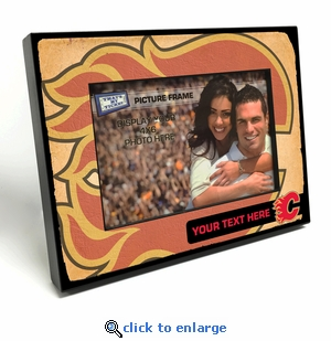 Calgary Flames Personalized Vintage Style Black Wood Edge 4x6 inch Picture Frame