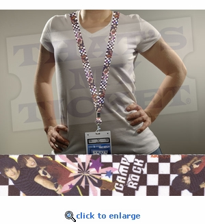 Camp Rock Lanyard Key Chain with Ticket Holder - Checkers