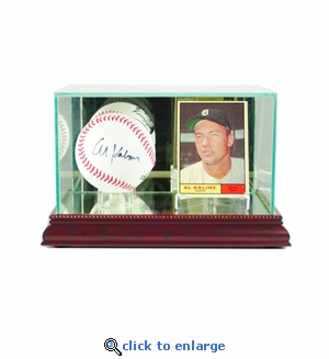 Card and Baseball Display Case - Cherry