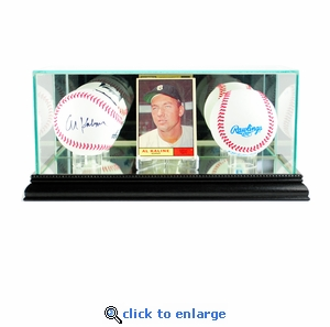 Card and Double Baseball Display Case - Black