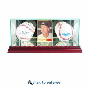Card and Double Baseball Display Case - Cherry