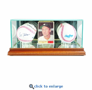 Card and Double Baseball Display Case - Walnut