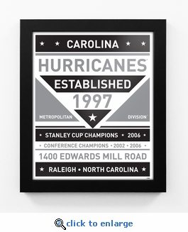 Carolina Hurricanes Black and White Team Sign Print Framed