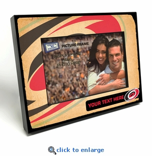 Carolina Hurricanes Personalized Vintage Style Black Wood Edge 4x6 inch Picture Frame