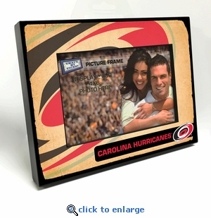 Carolina Hurricanes Vintage Style Black Wood Edge 4x6 inch Picture Frame