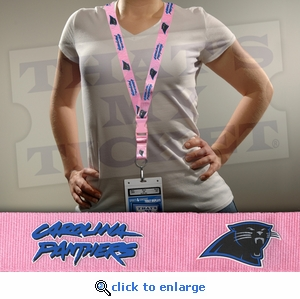Carolina Panthers NFL Lanyard Key Chain and Ticket Holder - Pink