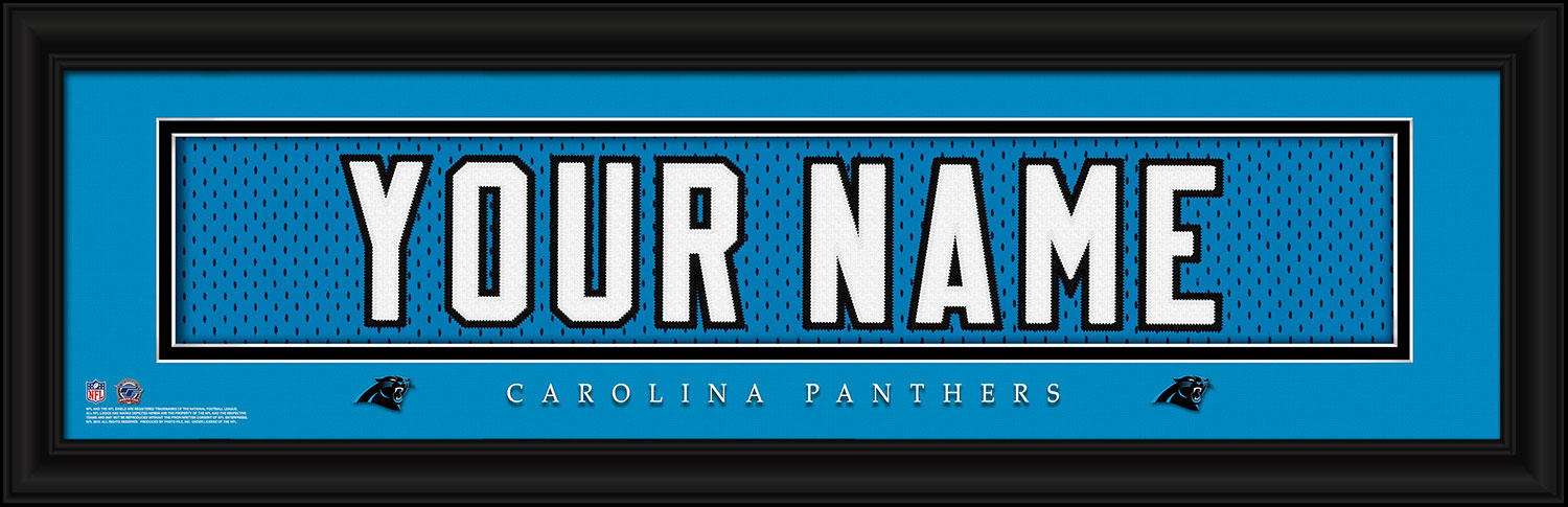 the best attitude 3d9e3 a9f57 Carolina Panthers Personalized Stitched Jersey Nameplate Framed Print
