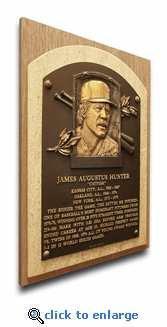 Catfish Hunter Baseball Hall of Fame Plaque on Canvas - Athletics, Yankees