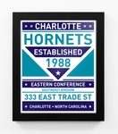 Charlotte Hornets Dual Tone Team Sign Print Framed
