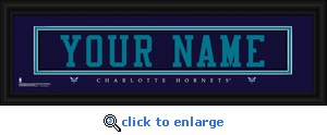 Charlotte Hornets Personalized Stitched Jersey Nameplate Framed Print