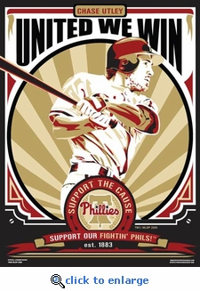 Chase Utley Sports Propaganda Poster - Philadelphia Phillies