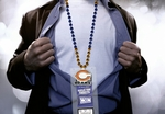 Chicago Bears Mardi Gras Beads Lanyard with Medallion and Ticket Holder