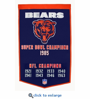 Chicago Bears Super Bowl Dynasty Wool Banner (24 x 36)