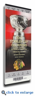 Chicago Blackhawks 2010 Stanley Cup Champions Banner Raising Canvas Mega Ticket