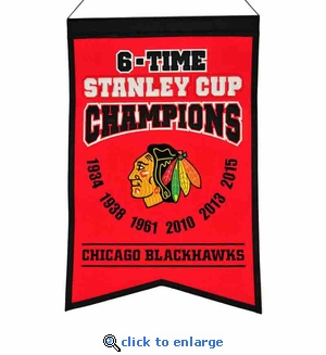 Chicago Blackhawks 6-Time Stanley Cup Champions Wool Banner (14 x 22)
