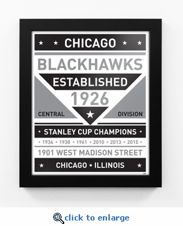 Chicago Blackhawks Black and White Team Sign Print Framed