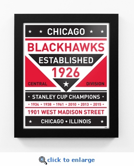Chicago Blackhawks Dual Tone Team Sign Print Framed
