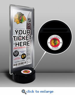 Chicago Blackhawks My First Game Hockey Puck Ticket Stand