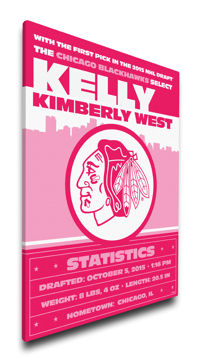 Chicago blackhawks personalized canvas birth announcement baby gift negle Gallery