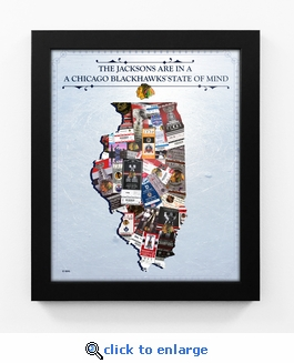Chicago Blackhawks Personalized State of Mind Framed Print - Illinois
