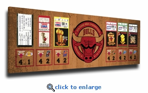 Chicago Bulls 6-Time NBA Champions Tickets to History Canvas Print
