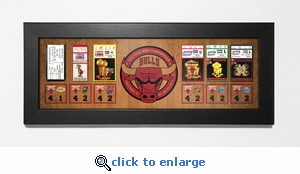 Chicago Bulls 6-Time NBA Champions Tickets to History Framed Print