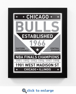 Chicago Bulls Black and White Team Sign Print Framed