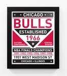 Chicago Bulls Dual Tone Team Sign Print Framed