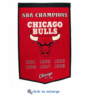Chicago Bulls NBA Champions Dynasty Wool Banner (24 x 36)