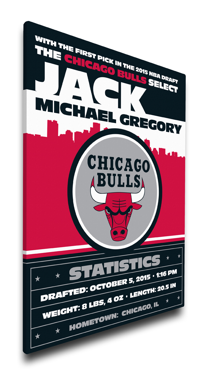 Chicago bulls personalized canvas birth announcement baby gift negle Gallery