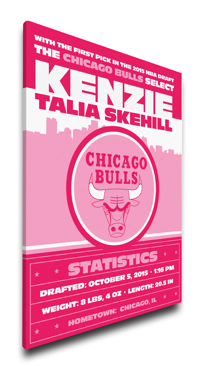Chicago bulls personalized canvas birth announcement baby gift negle Images