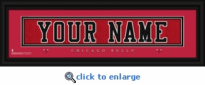 Chicago Bulls Personalized Stitched Jersey Nameplate Framed Print
