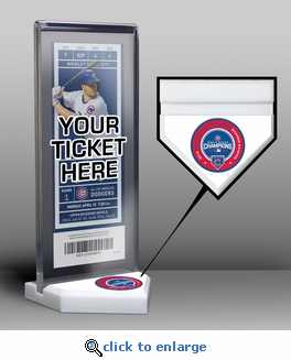 Chicago Cubs 2017 Opening Day / World Series Banner Raising Home Plate Ticket Display Stand