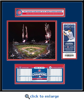 Chicago Cubs 2017 Opening Day / World Series Banner Raising Ticket Frame Jr